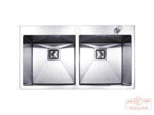 سینک ظرفشویی توکار استیل مس مدل FD34 دو لگن