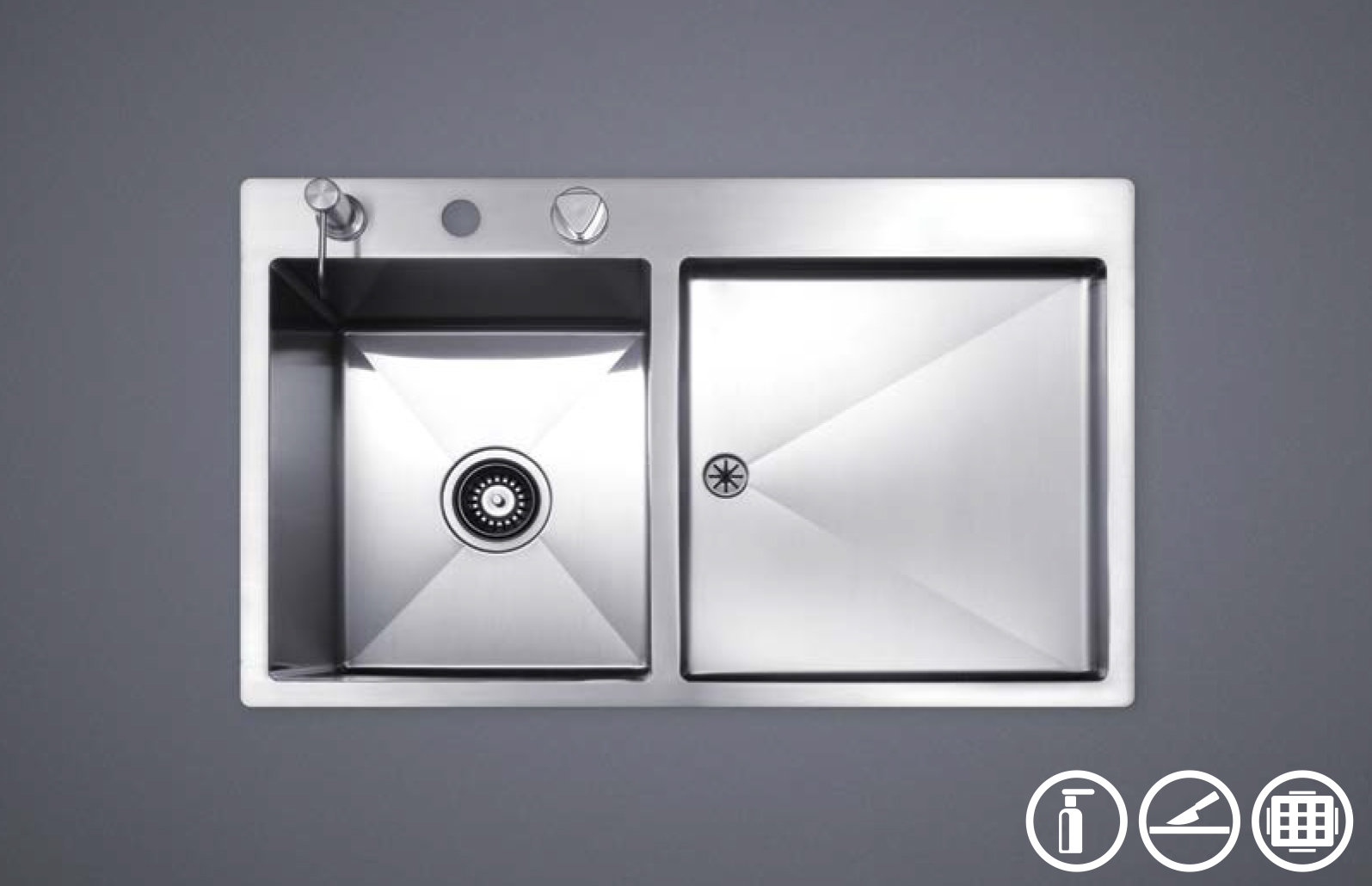 سینک ظرفشویی توکار استیل مس مدل F40TL تک لگن