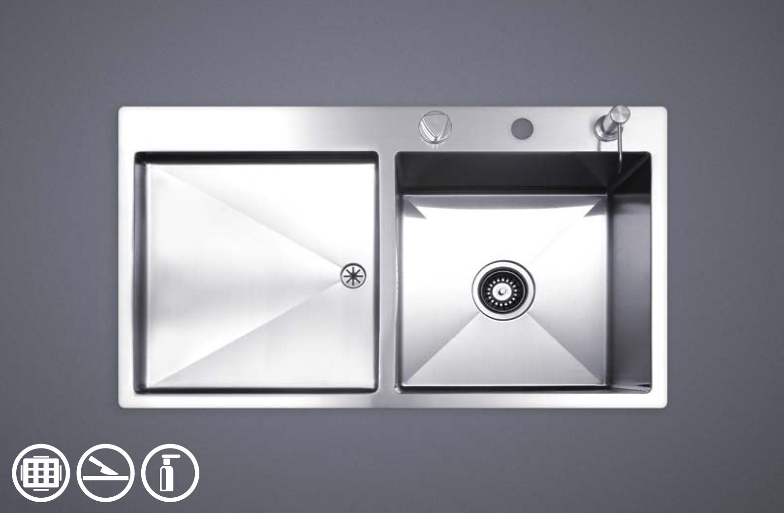 سینک ظرفشویی توکار استیل مس مدل F40TR تک لگن